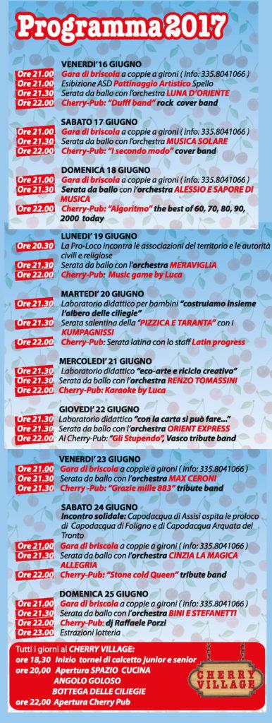 Programma per la Festa della Ciliegia 2017